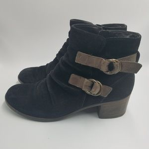 Paul Green Ruched Suede Side Zipper Buckle Boots